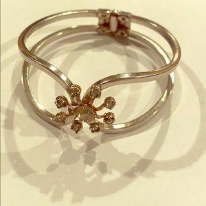 Vintage rhinestone cuff bangle bracelet